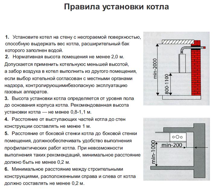 Правила установки настенного газового котла